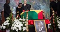Nane Maria, the widow of Kofi Annan, former Secretary-General of UN who died on August 18 at the age of 80 after a short illness, stands in front of his coffin at the Accra International Conference Centre in Accra on September 12.//AFP