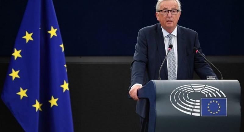 European Commission President Jean-Claude Juncker delivers his State of the Union speech at the European Parliament on September 12, 2018 in Strasbourg, eastern France. (Photo by FREDERICK FLORIN / AFP)