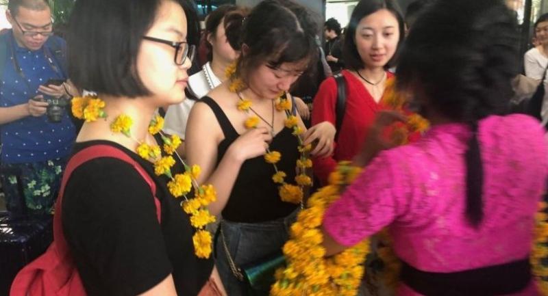 Chinese tourists visit Bali.