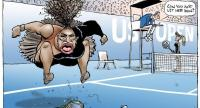 This handout obtained on September 11, 2018 from the Herald Sun shows a cartoon published on September 10 of US tennis player Serena Williams in the controversial final of the US Open women's singles final.//AFP