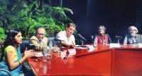 (L-R) Madhavi Divan, Abhrajit Mitra, Ishan Joshi, Tuktuk Ghosh and Prof. Hari Vasudevan at a panel discussion on the topic 'Surely, Democracy Isn't Only About Dissent' during The Statesman Awards for Rural Reporting at Kala Mandir in Kolkata Sunday.