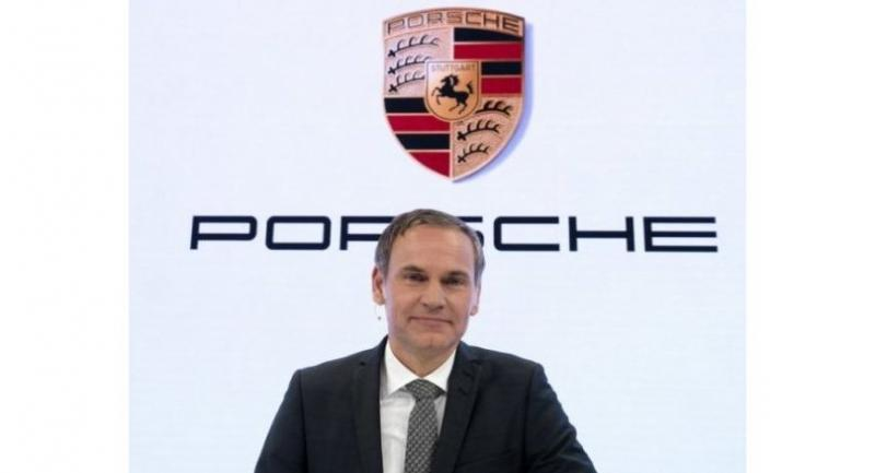 CEO of German luxury car maker Porsche AG Oliver Blume speaks during the company's annual press conference at the Porsche museum in Stuttgart, southwestern Germany on March 16, 2018. / AFP