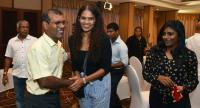 Former President of the Maldives Mohamed Nasheed (L) is congratulated supporters of the Maldives opposition leader and presidential candidate at a hotel in Colombo on September 24, 2018, as their candidate was set to win./AFP