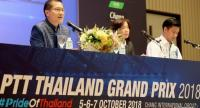 Minister of Tourism and Sports Weerasak Kowsurat, left, with Tanaisiri Chanvitayarom, managing director, Buriram United International Circuit, right, discuss the state of preparations for Thailand's first MotoGP.  Photo by Wanchai Kraisornkhajit