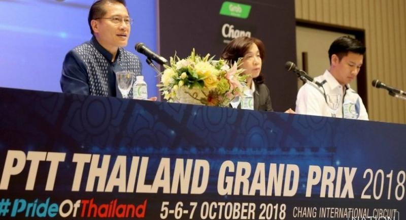 Minister of Tourism and Sports Weerasak Kowsurat, left, with Tanaisiri Chanvitayarom, managing director, Buriram United International Circuit, right, discuss the state of preparations for Thailand's first MotoGP.  Photo by Wanchai Kraisornkhajit