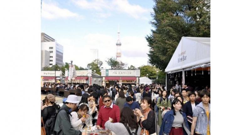 Sapporo Autumn Fest bustles with people on Sunday in Sapporo Odori Park in Chuo Ward, Sapporo.