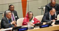 """Prime Minister Sheikh Hasina addresses a meeting titled """"High-level Event on the Global Compact on Refugees: A Model for Greater Solidarity and Cooperation"""" at the UN headquarters in New York yesterday. Photo: PID"""