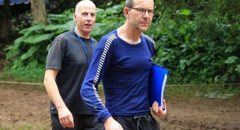 File photo : John Volanthen (right) walks with Richard William Stanton during rescue operation in Chiang Rai province.