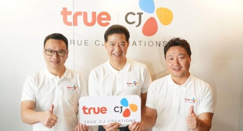 Apicha, left, Birathon, centre, andTrue CJ Creations' deputy director content partnership Joon Sik Im.