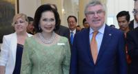 IOC member Khun Ying Patama Leeswadtrakul and Thomas Bach