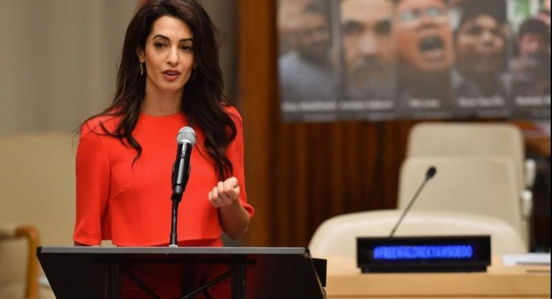 Amal Clooney participates in the Press Behind Bars: Undermining Justice and Democracy event during the 73rd session of the United Nations General Assembly at the United Nations in New York on September 28, 2018. (Photo by Angela Weiss / AFP)