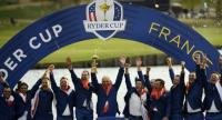 European team celebrate with the trophy after winning the 42nd Ryder Cup at Le Golf National Course at Saint-Quentin-en-Yvelines.