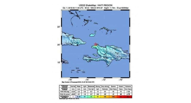 epa07075584 A handout photo made available by the US Geological Survey (USGS) shows the location of a 5.9 magnitude earthquake striking at a depth of 11.7km near Port-de-Paix, Haiti on October 7.//EPA-EFE