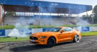 The rear-wheel-drive Mustang comes with a tyre-burning system for quick race starts.