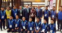 Members of the Mu Pa Academy football team are granted an audience with Prince Albert II of Monaco, standing fifth from left, at the Youth Olympic Games in Buenos Aires recently. The prince is a member of the International Olympic Committee (IOC).