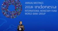 Indonesia President Joko Widodo delivers a remarks during a seminar at the IMF and World Bank annual meeting in Nusadua, Bali, Indonesia on October 11.//EPA-EFE