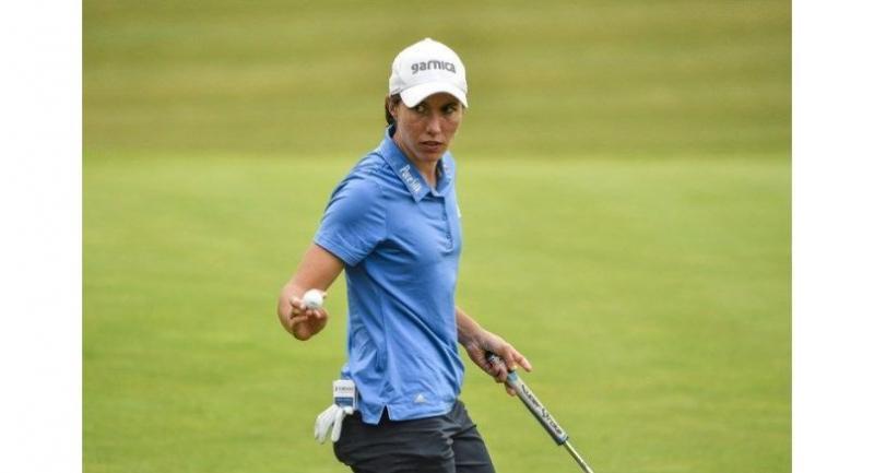 Carlota Ciganda of Spain gestures during round four of the Shanghai LPGA golf tournament in Shanghai on October 20, 2018.