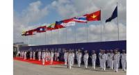 Contingents from the participating nations forming up for the opening ceremony of the Asean-China Maritime Field Training Exercise.PHOTO: LIANHE ZAOBAO