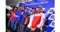 Above L-R: Bautista, Rins, Rossi, Marquez, Crutchlow and Miller.