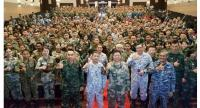 A total of 1,339 military personnel from China, Thailand and Malaysia participate in Aman Youyi 2018, a joint military exercise started since 2014. Fourth from left is Lt Gen Suphot Malaniyom, Lt Gen Ma Yiming and Vice Admiral Syed Zahiruddin Putra.