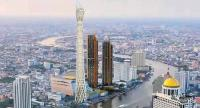 A perspective of Unity Tower, a 459-metre observation tower in Bangkok. Located by the Chao Phraya River on Charoen Nakhon Road, the structure will be completed in 2020.