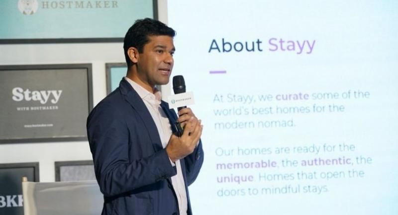 Nakul Sharma, Hostmaker's chief executive officer and founder, announces the company's business expansion in Thailand yesterday.