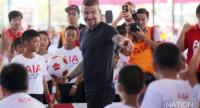 David Beckham conducts a football clinic for Thai children. / Nation Photo by Wanchai Kraisornkhajit