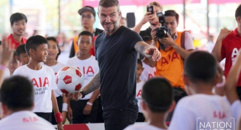 David Beckham conducts a football clinic for Thai children. / Nation Photo by Wanchai Kraisornkhajit