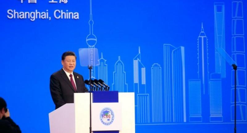 China's President Xi Jinping speaks at the opening ceremony of the first China International Import Expo (CIIE) in Shanghai on November 5, 2018. (Photo by ALY SONG / POOL / AFP)