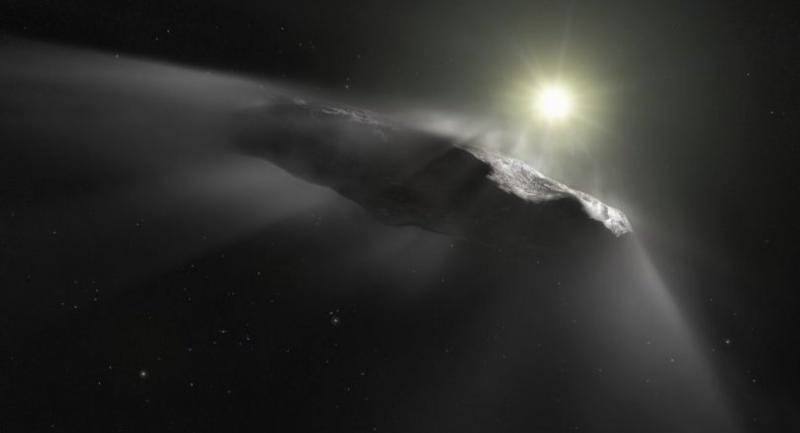 A handout image of an artist's impression released by the European Space Agency on June 27, 2018 shows of the first interstellar object discovered in the Solar System, Oumuamua./AFP