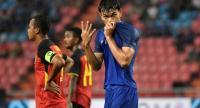 Adisak Kraisorn reacts after scoring his fourth goal.