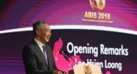 Singapore's Prime Minister Lee Hsien Loong speaks at a business forum on the sidelines of the 33rd Association of Southeast Asian Nations (ASEAN) summit in Singapore on November 12, 2018. (Photo by Roslan RAHMAN / AFP)