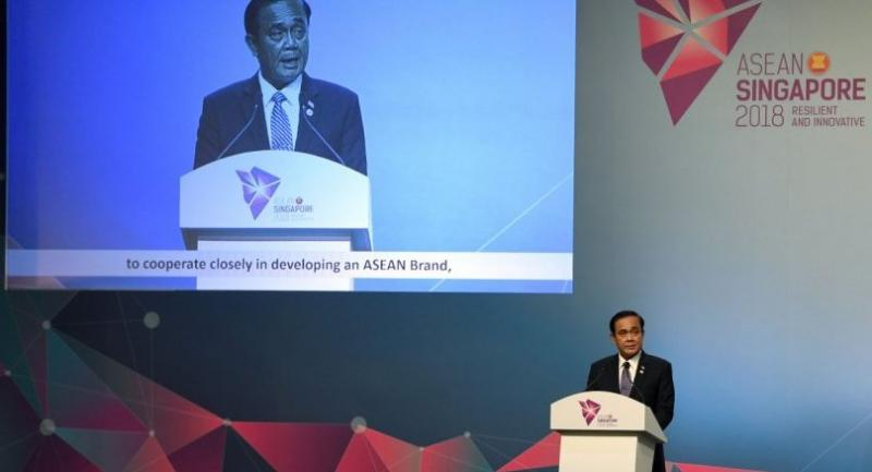 Thai Prime Minister Prayut Chan-O-Cha speaks during the closing ceremony of the 33rd Association of Southeast Asian Nations (ASEAN) summit in Singapore on November 15.//AFP