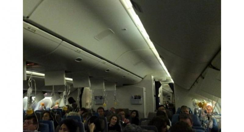 The Singapore Airlines flight bound for Paris had climbed to 24,000 feet and was over Malaysia when it turned back towards Singapore. Oxygen masks were deployed as the plane descended.//PHOTO: TWITTER/JCGRENOBLE