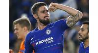 Chelsea's French striker Olivier Giroud celebrates after scoring their second goal during the UEFA Europa League Group L football match between Chelsea and PAOK Thessaloniki at Stamford Bridge in London on November 29, 2018.