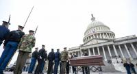 Joint service members rehearse the arrival of former President George H.W. Bush to the US Capitol, a day before he will lie in state in the Capitol Rotunda in Washington, DC, USA, on December 2.//EPA-EFE
