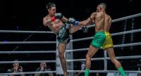 Petchmorrakot Petchyindee Academy (left) during a bout against Fabrice Fairtex Delannon in the One Pinnacle of Power in Macau in July.