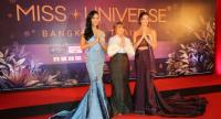 From left, Miss Universe Thailand 2018, Sopida Kanchanarin, Paula Shugart, president of Miss Universe organisation, and Miss Universe 2017, DemiLeigh Nel-Peters.