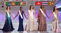 Miss World 2018 finalists, from left, Miss Belarus Maria Vasilevich, Miss Jamaica Kadijah Robinson, Miss Mexico Vanessa Ponce de Leon, Miss Uganda Quiin Abenakyo and Miss Thailand Nicolene Pichapa Limsnukan stand on stage.// AFP PHOTO