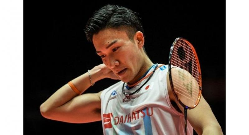 Kento Momota of Japan reacts during his men's singles first round match against Sameer Verma of India at the 2018 BWF World Tour Finals of badminton in Guangzhou, south China's Guangdong province on December 12, 2018.