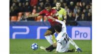 Valencia's Spanish midfielder Daniel Parejo (R) challenges Manchester United's English striker Marcus Rashford during the UEFA Champions League group H football match between Valencia CF and Manchester United at the Mestalla stadium in Valencia.
