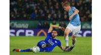 Leicester City's Spanish midfielder Vicente Iborra (L) vies with Manchester City's Belgian midfielder Kevin De Bruyne (R) during the English League Cup quarter-final football match between Leicester City and Manchester City at King Power Stadium.