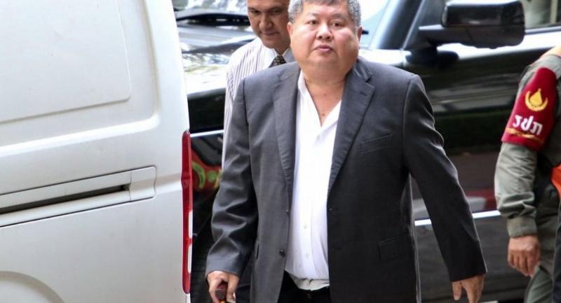 Premchai arrives at a Kanchanaburi Court on Wednesday.//Chalinee Thirasupa