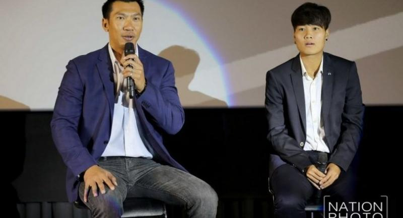 Former world No 9 Paradorn Srichaphan and current world No 66 Luksika Kumkhum promote the Thailand Open yesterday.