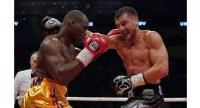 Oleksandr Gvozdyk (R) fights with Adonis Stevenson during their WBC light heavyweight championship fight at the Videotron Center in Quebec City, Quebec, Canada on December 1, 2018.