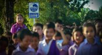 Students walk to a safe area during a tsunami emergency drill organised by their school, along with the UN Development Programme and their other partners. // UNDP PHOTO
