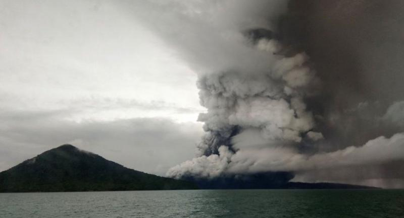 This picture taken on December 26 shows the Anak (Child) Krakatoa volcano erupting, as seen from a ship on the Sunda Straits.//AFP