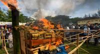 Indonesian police burn a large pile of seized marajuana at a ceremony in Banda Aceh on December 27.//AFP