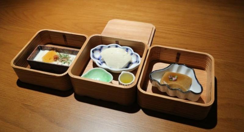 Yuba Mille Feuille, Yuki Tofu, and Goma Tofu at Mihara Tofuten