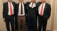 In this file photo taken on October 16, 2018 British divers involved in the Tham Luang cave rescue in Thailand, (L-R) Chris Jewell, Connor Roe, Jim Warny and Rob Harper, pose for a photograph at a reception in London./AFP